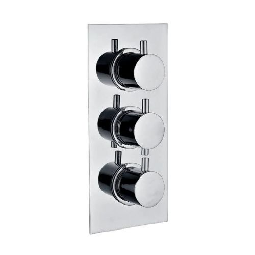 Abacus Essentials Thermostatic Round Concealed Shower Valve Triple Outlet - Chrome
